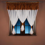 Firana konf. z woalu kreszowanego z satyną kreszowaną - KOKONY kol. biały z brązowym - 160x450 cm w sklepie internetowym Kaszmir-firany.pl