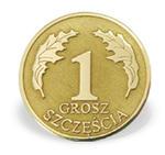 """Grosz """"na szczęście"""" ze złota M-4Z doskonały na I Komunie Św. - na I Komunię Św. \ ok. 16 mm w sklepie internetowym Wec.com.pl"""