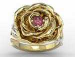 Pierścionek z żółtego i białego złota w kształcie róży z rubinem i diamentami AP-95ZB w sklepie internetowym Wec.com.pl