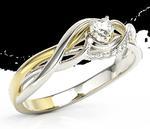 Pierścionek z białego i żółtego złota z cyrkoniami BP-73BZ-C - Białe i żółte \ Cyrkonia Swarovski White w sklepie internetowym Wec.com.pl