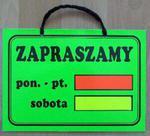 TABLICA INFORMACYJNA - ZAPRASZAMY w godz. (mała) w sklepie internetowym marikus.pl