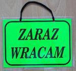 TABLICA INFORMACYJNA - ZARAZ WRACAM w sklepie internetowym marikus.pl