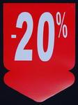 Tablica wyprzedażowa - strzałka ,,-20%'' w sklepie internetowym marikus.pl