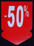 Tablica wyprzedażowa - strzałka ,,-50%'' w sklepie internetowym marikus.pl