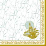 Serwetka 3-warstw. 33cm złota ramka chrzest,20szt. w sklepie internetowym Dorado