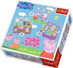 Puzzle 3w1 Świnka Peppa Zabawy w szkole Trefl w sklepie internetowym Mazakzabawki.pl