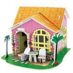 Drewniane puzzle 3D dom z meblami salon 82el. w sklepie internetowym Mazakzabawki.pl