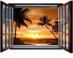 Fototapeta na flizelinie 1056VEZ4 Zachód Słońca przez otwarte okno w sklepie internetowym KrainaBarw.pl