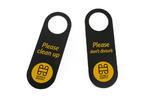 Zawieszki na klamkę hotelową - czarne - wymiary: 243x85mm - druk UV - ZAW004 w sklepie internetowym Grawernia.pl