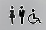 Piktogramy z plexi na toalety - czarny i biały akryl - TT021 w sklepie internetowym Grawernia.pl