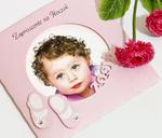 """Ekskluzywne zaproszenie na Roczek z wycinanym imieniem """"Moja miłość"""" ze zdjęciem kolor różówy w sklepie internetowym Artillo"""
