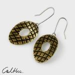 Owale w kratkę - mosiężne kolczyki w sklepie internetowym Artillo