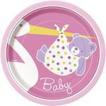 Talerzyki papierowe na Baby Shower, Chrzest - różowe 8szt./op. w sklepie internetowym Partykiosk