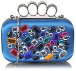 Niebieska torebka wizytowa szkatułka z kolorowymi kryształkami - niebieski || kolorowy w sklepie internetowym Evangarda.pl