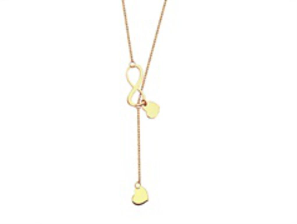 a9508946f14d29 Złoty naszyjnik nieskończoność i 2 serca YES VERONA w sklepie internetowym  Legance.pl. Powiększ zdjęcie