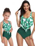 Bikini mama i córka z zielonymi liściami na topie i ciemnozielonym dołem w sklepie internetowym Lejdi.pl