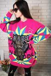 Różowy sweter z misiem kryształkowym z skrzydłami, stylowe swetry damskie w sklepie internetowym Lejdi.pl