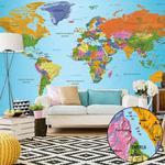 Fototapeta XXL - Mapa świata: Kolorowa geografia II w sklepie internetowym Radimar