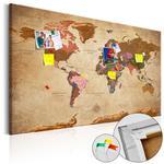 Obraz na korku - Mapa świata: Brązowa elegancja [Mapa korkowa] w sklepie internetowym Radimar