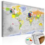 Obraz na korku - Mapa świata: Róża wiatrów [Mapa korkowa] w sklepie internetowym Radimar