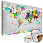 Obraz na korku - Mapy: Kolorowa finezja [Mapa korkowa] w sklepie internetowym Radimar