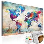 Obraz na korku - Mapa świata: Kolorowe szaleństwo [Mapa korkowa] w sklepie internetowym Radimar