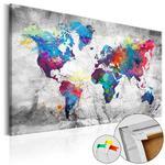 Obraz na korku - Mapa świata: Szary styl [Mapa korkowa] w sklepie internetowym Radimar