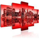 Obraz - Czerwona poświata nad Nowym Jorkiem - 5 częsci w sklepie internetowym Radimar