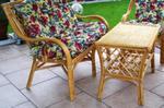 Śliczna ławka rattanowa do ogrodu i domu m07l z biała poduszką w komplecie w sklepie internetowym Akspol