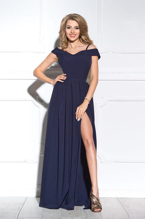 2a1a343f8d FEMME - Długa suknia z rozcięciem granatowa w sklepie internetowym  Sukienkowo. Powiększ zdjęcie