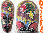 Kolorowa Rzeźba Maska Drewno - Rękodzieło 25cm w sklepie internetowym e-trade24.pl