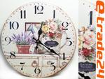 Zegar Lawenda Róża 33cm - Zegary Retro do Kuchni, Salonu w sklepie internetowym e-trade24.pl