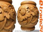Stylowy Rzeźbiony WAZON Smok Ornament z Drewna Rękodzieło w sklepie internetowym e-trade24.pl