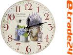 Zegar LAWENDA 33cm - Zegary Retro do Kuchni Salonu w sklepie internetowym e-trade24.pl