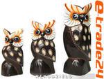 Figurki Rzeźby Drewno SOWA kpl 3 Sowy 10-16cm w sklepie internetowym e-trade24.pl
