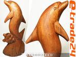 Figurka Rzeźba DELFIN z Drewna Suar Rękodzieło 25cm w sklepie internetowym e-trade24.pl