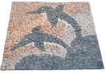 Mozaika kamienna - Marmurowa mozaika - Wzór w delfiny - 120x120 cm w sklepie internetowym TwojPasaz.pl