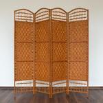 Parawan drewniany 4-skrzydłowy brązowy, wiklina papierowa w sklepie internetowym TwojPasaz.pl