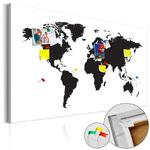 Obraz na korku - Mapa świata: Czarno-biała elegancja [Mapa korkowa] w sklepie internetowym Barokko.pl