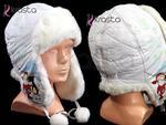 Dziecięca zimowa czapka uszatka U28 biała Mikołaj w sklepie internetowym Krasta.pl