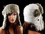 Ciepla zimowa czapka WELUROWA uszatka U11 biała w sklepie internetowym Krasta.pl