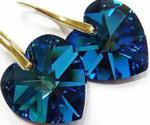 Swarovski Serce kolczyki Złote Srebro 18 BLUE w sklepie internetowym ARANDE