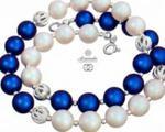 SWAROVSKI piękny naszyjnik PERŁY BLUE WHITE FANTASIA SREBRO w sklepie internetowym ARANDE