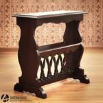 Gazetnik ze stolikiem z pełnego drewna mahoniowego 117062 w sklepie internetowym Artseries.pl