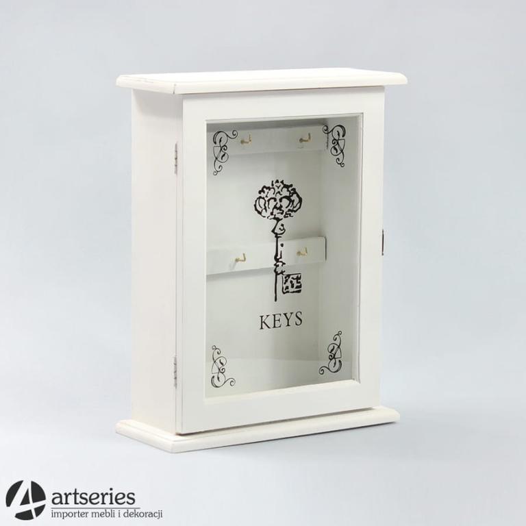 7eaf0200fa374e Biała drewniana skrzynka na klucze 77799 z udekorowaną szybką w sklepie  internetowym Artseries.pl. Powiększ zdjęcie