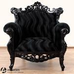 Czarny, stylowy fotel tapicerowany, ręcznie rzeźbiony w sklepie internetowym Artseries.pl