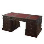Stylowe, drewniane biurko gabinetowe z szufladami i szafkami z dwóch stron 117146 w sklepie internetowym Artseries.pl