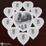 Niesamowita ramka na dziesięć zdjęć w kształcie serc 84996 kolor biały w sklepie internetowym Artseries.pl
