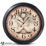 Zegar ścienny ze stylizowanym antycznym cyferblatem z mapami | 93 cm |97151 w sklepie internetowym Artseries.pl