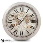 93 cm |Postarzany, stylowy zegar wiszący z widocznymi mapami | World | w sklepie internetowym Artseries.pl